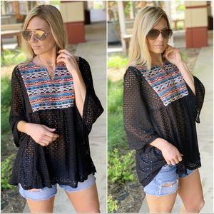 Infinity Raine Tops - Southwest Embroidered black lace tunic